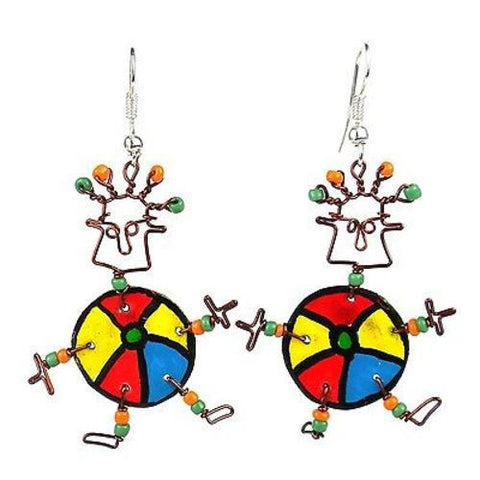 Dancing Girl Beach Ball Earrings Handmade and Fair Trade