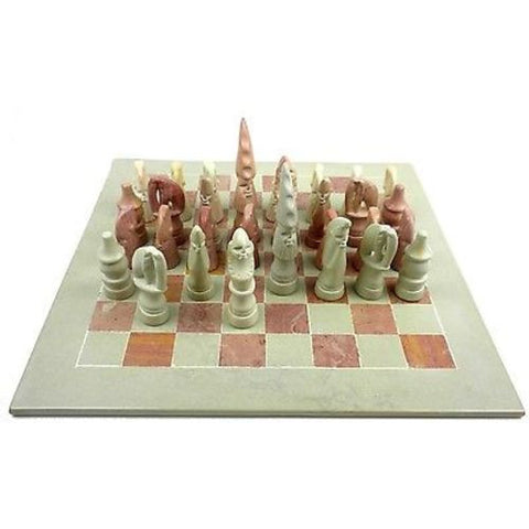"Hand Carved Soapstone Maasai Chess Set - 14"" Board Handmade and Fair Trade"