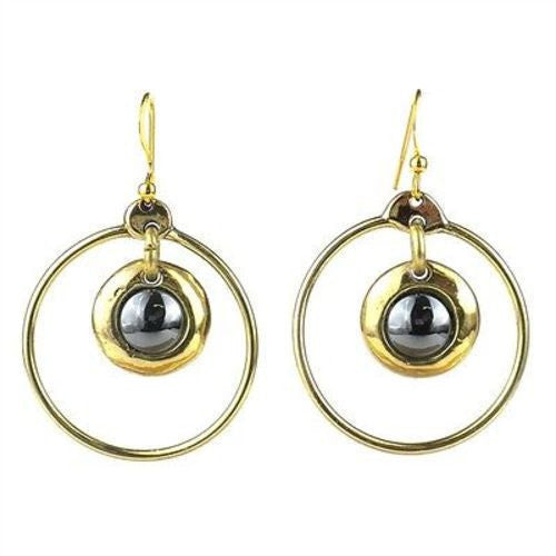 Encircled Hematite Brass Earrings Handmade and Fair Trade