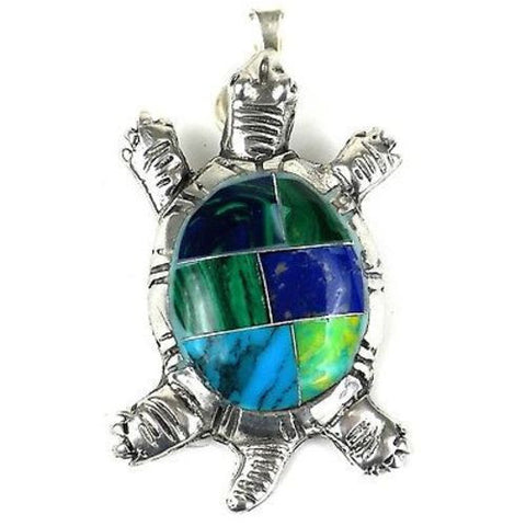 Inlaid Stone Turtle Alpaca Silver Pendant Handmade and Fair Trade