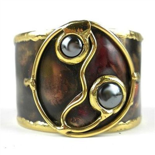 Morpho Hematite and Brass Cuff Handmade and Fair Trade