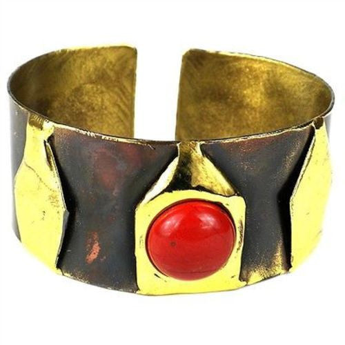 Red Jasper Brass Cuff Handmade and Fair Trade