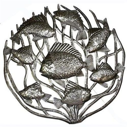 Fish in Coral Metal Wall Art 24-inch Diameter Handmade and Fair Trade