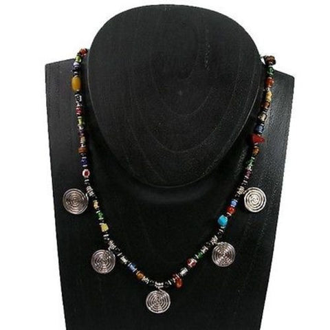 Five Spiral Multicolor Beaded Necklace Handmade and Fair Trade