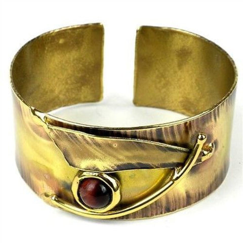 Blade & Red Tiger Eye Brass Cuff Handmade and Fair Trade