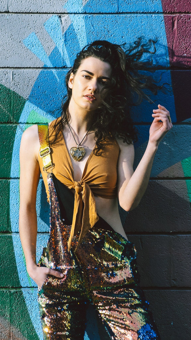 Dragon Embers Long Sequin Overalls