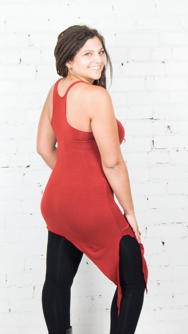 Side view of Umba Love's asymmetrical hemline, racerback Angle Tank Top in rust.