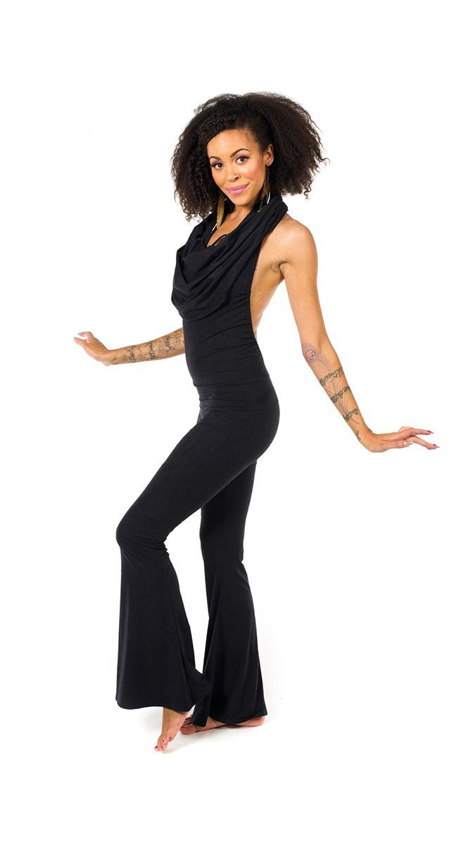 Girl wearing Warrior Within Black Bamboo Firebird Slim Bell Onesie features backless, halter cowl neck, black, side view, is sold at UMBA LOVE.