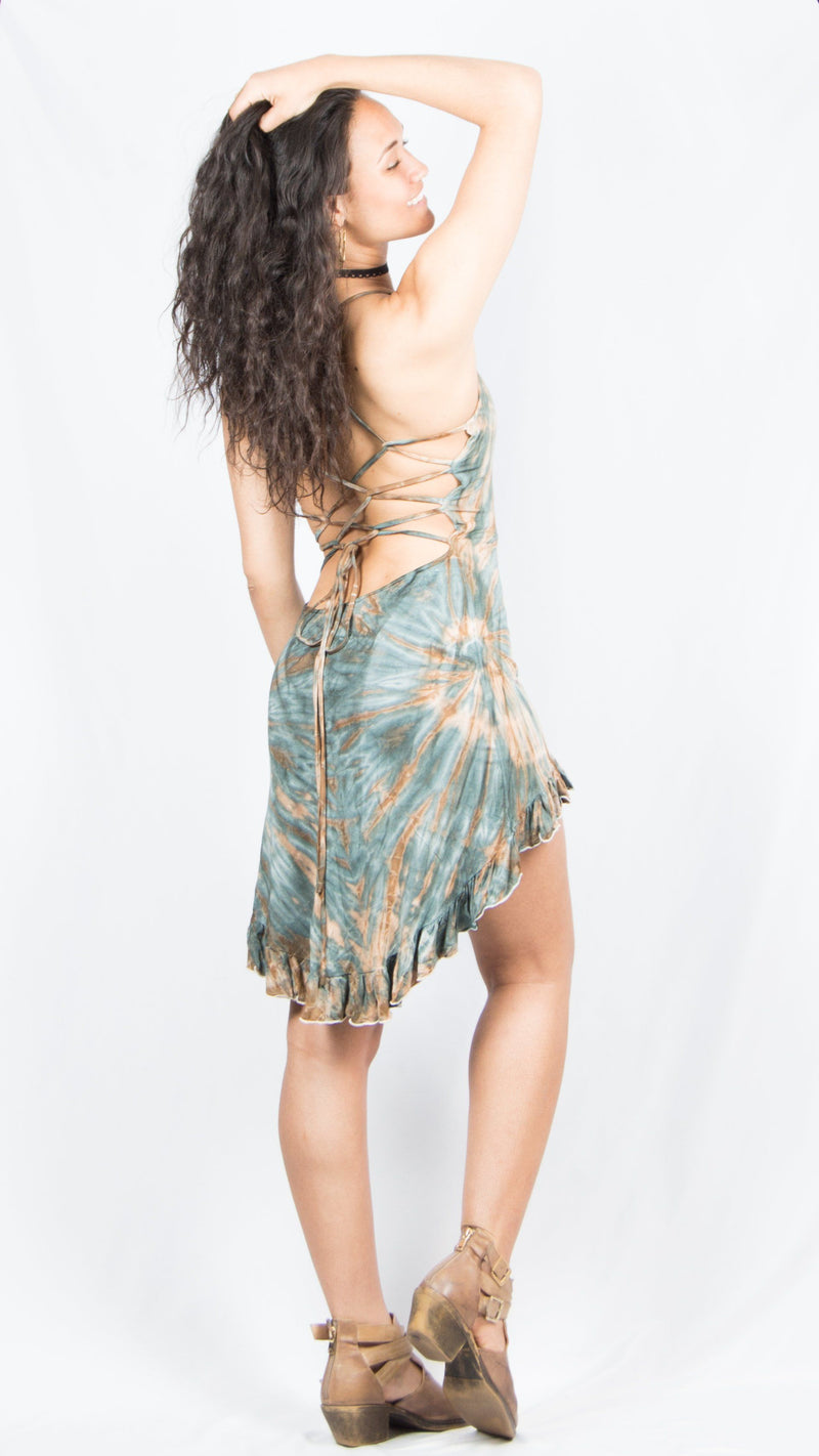 Tie Dye Strappy Dress w/ Ruffle