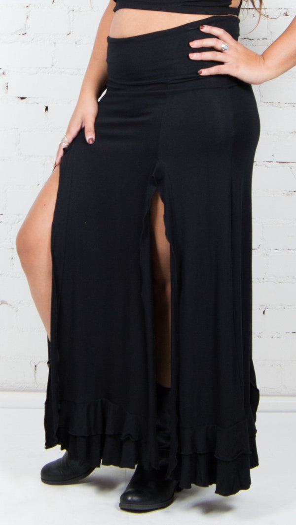 Double Slit Ruffle Maxi Skirt