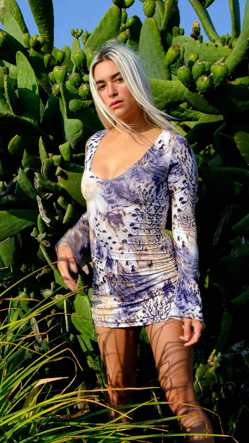 White Tail Feather Sleeved Echo Cinch Dress