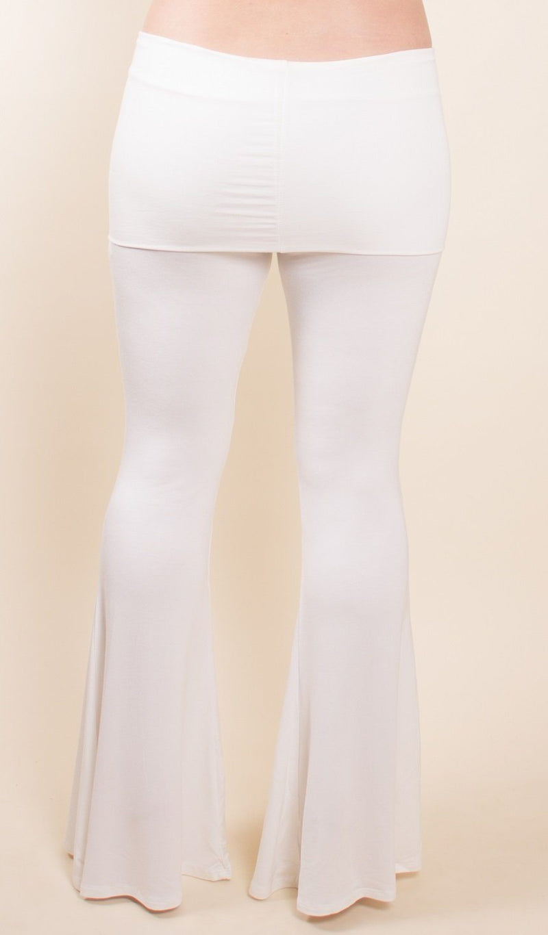 white fold over flares can be worn for yoga or festivals sizes sm-med and med-lg umbalove collection