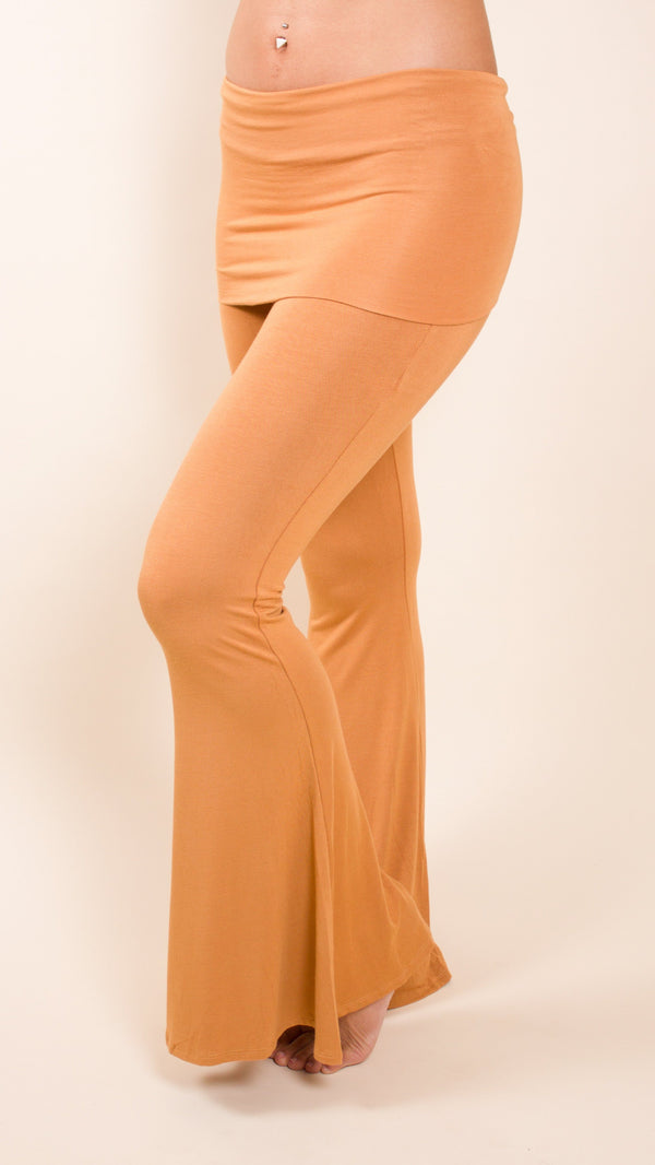 gold fold over waist, skirted bell bottom flared festival pants from umba love