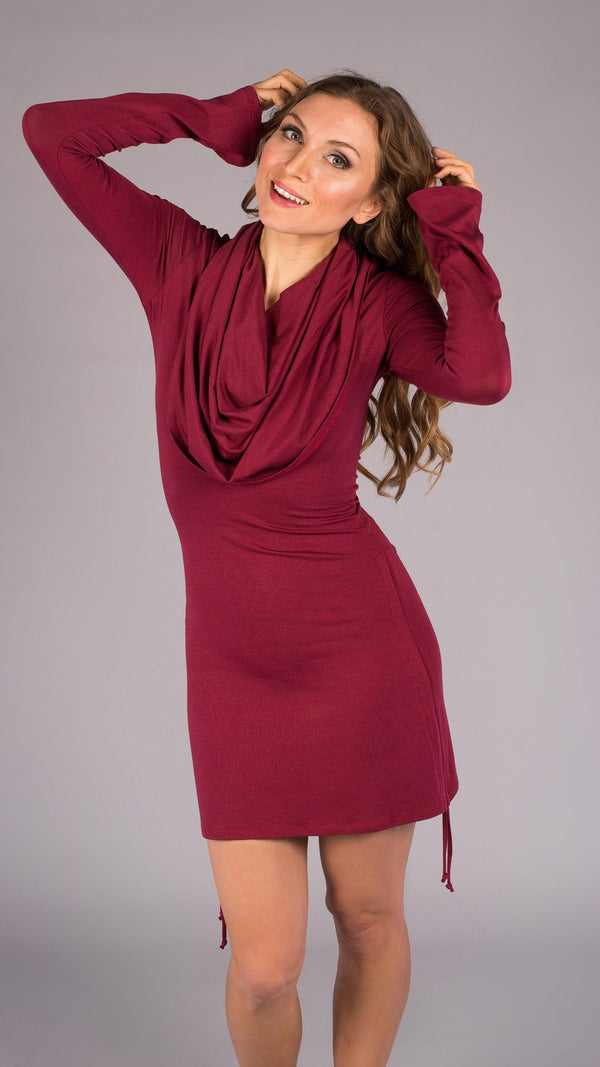 Maroon Bamboo Long Sleeve Huntress Dress