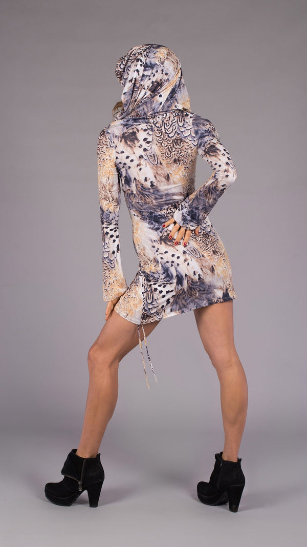 White Tail Feather Long Sleeve Huntress Cinch Dress