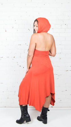 Kenz Hooded V-Neck Dress