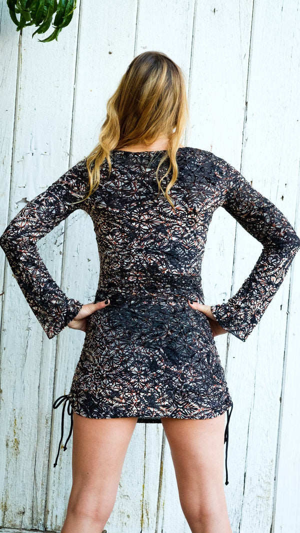 Metallic Lotus Burnout Sleeved Echo Cinch Dress