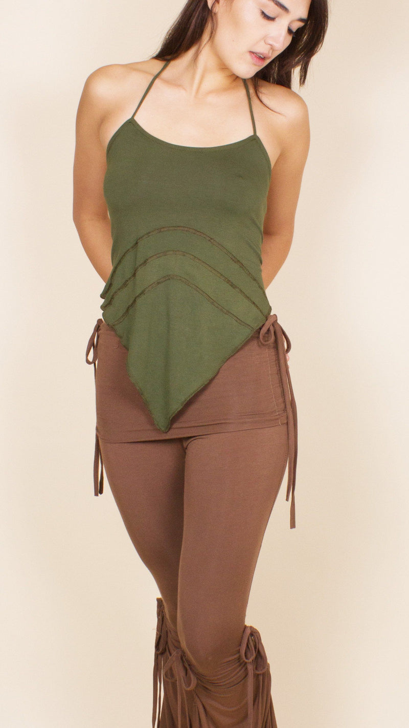 girl wearing olive triangle lace up back top umba love