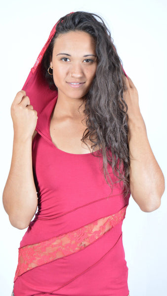 95e133d36663a Hooded Lace Tank Top
