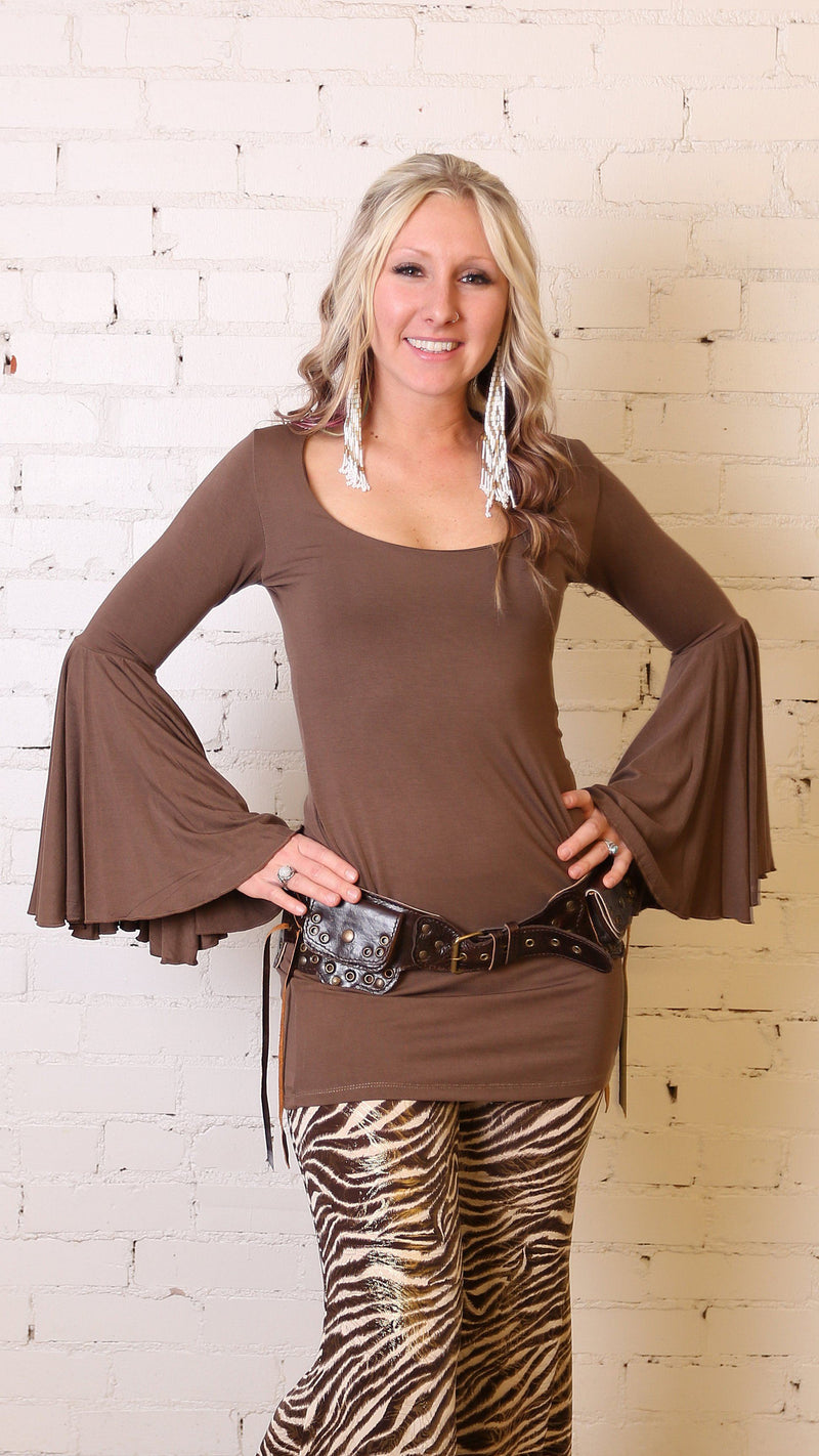 Girl wearing Umba's Bell Sleeve Tunic, Festive Long Sleeve Mini Dress, mocha, front view, sold at UMBA LOVE.