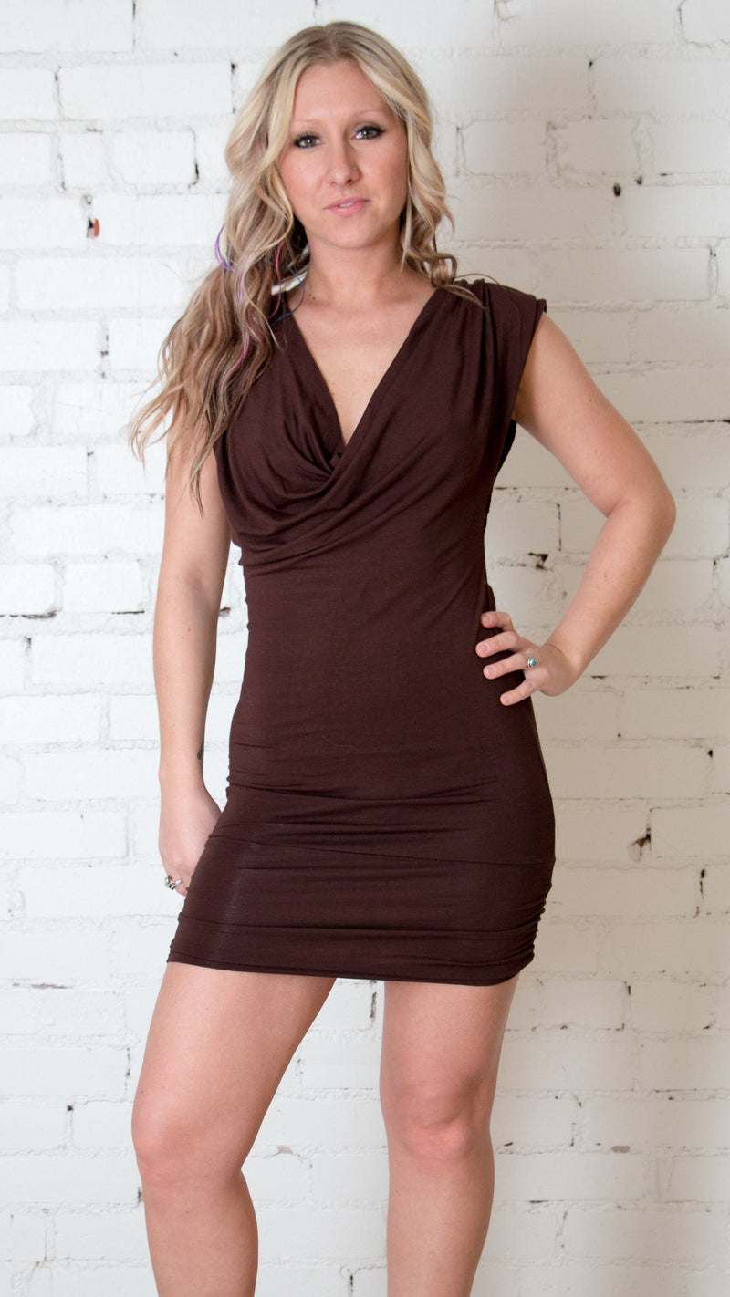 Girl wearing Umba Chocolate Brown Open Tie Back Cowl Mini Dress, front view, sold at Umba Love in Boulder, CO.