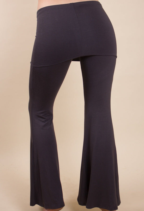 charcoal black fold over flared bell bottom festival pants modal fabric