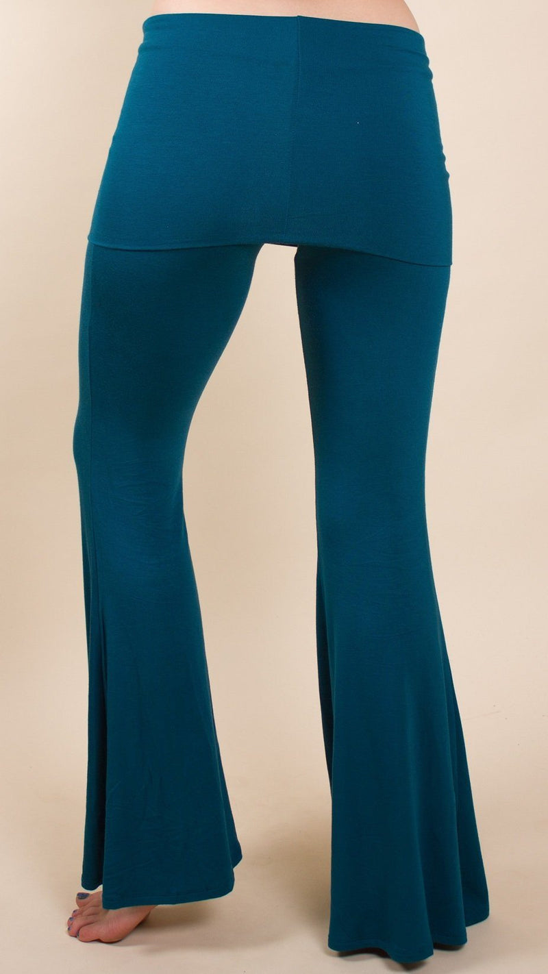 Dark Teal fold over bell bottom flares, modal fabric, for yoga and festivals from umba love collection.