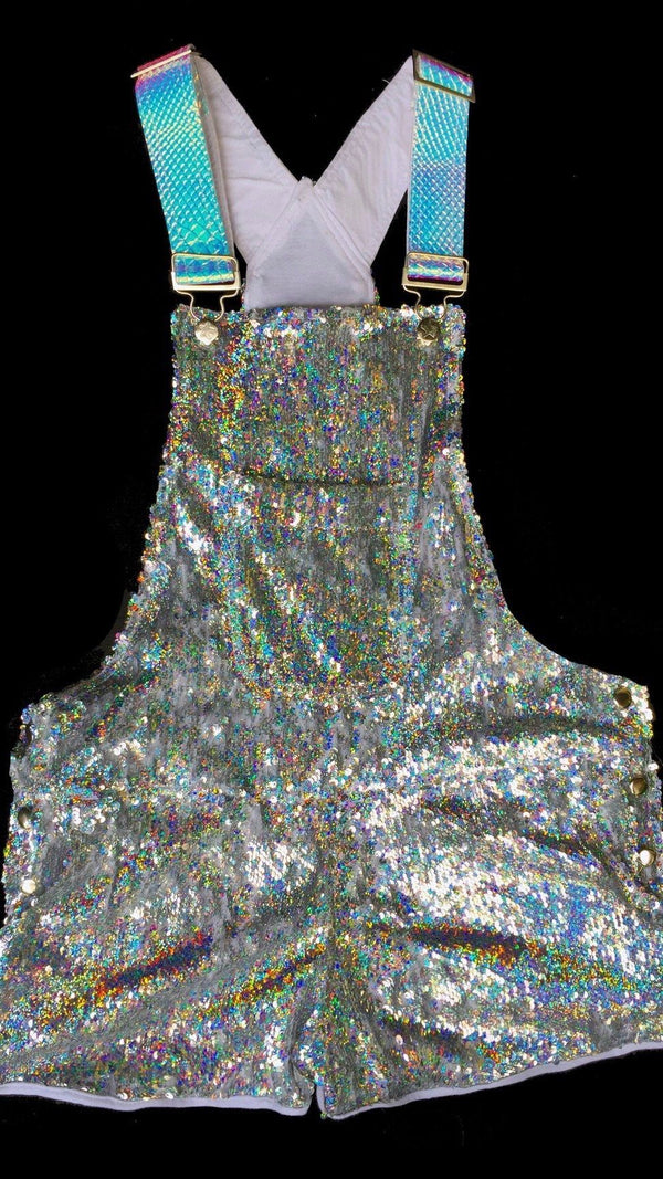 Space Spectrum Short Sequin Overalls
