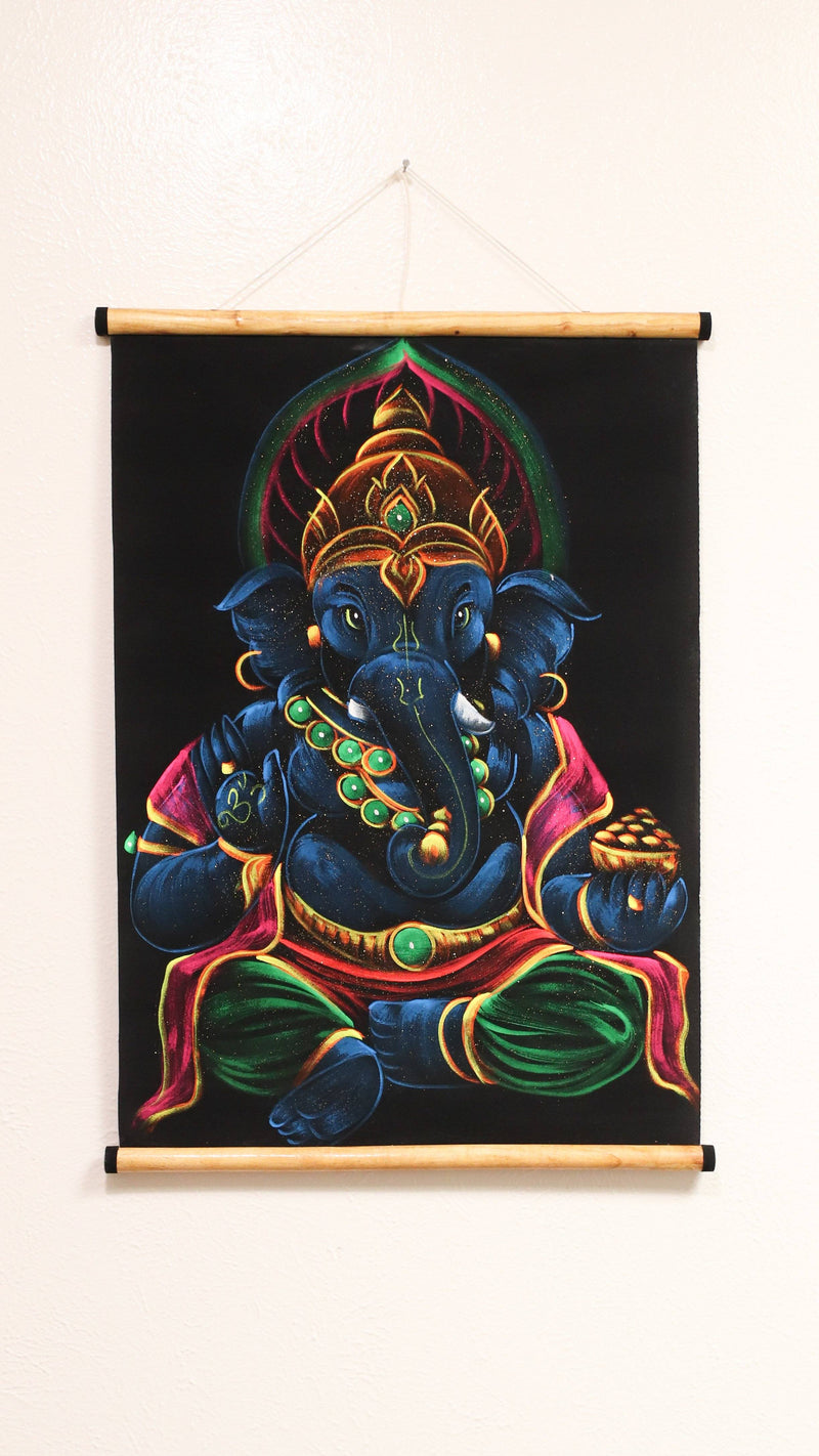 Hand Painted Velvet Scroll - Blue Ganesh
