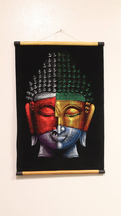 Hand Painted Velvet Scroll - Colorful Buddha