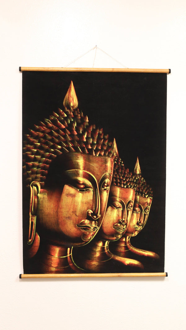 Hand Painted Velvet Scroll - Gold Buddha Faces