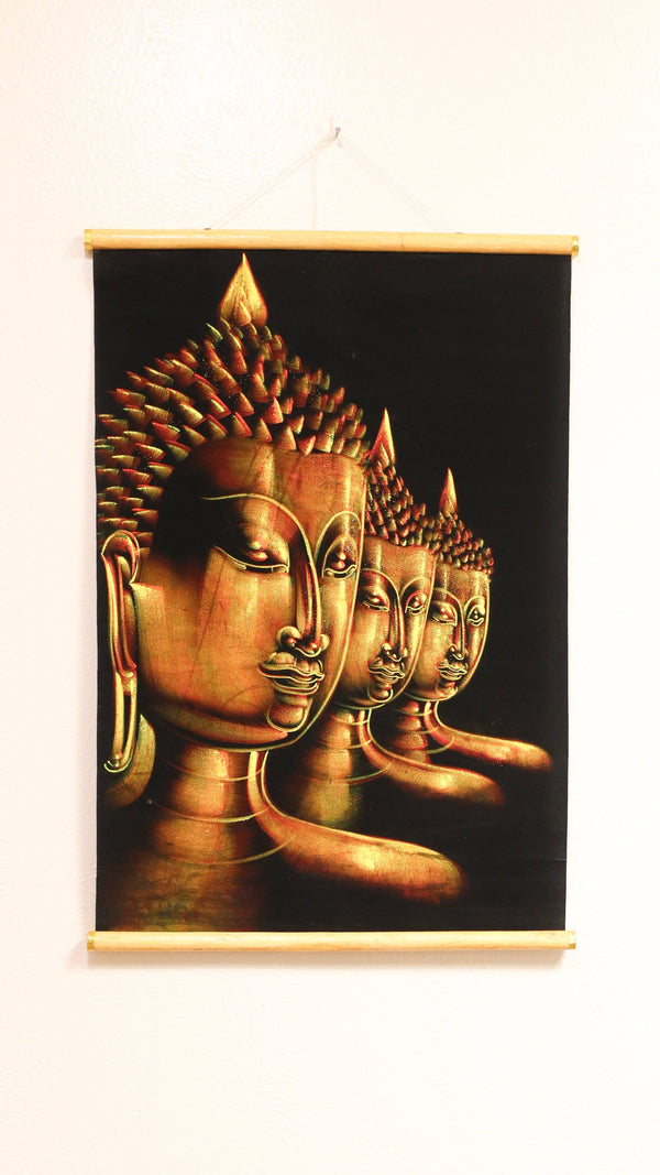 Hand Painted Velvet Scroll - Gold Buddhas