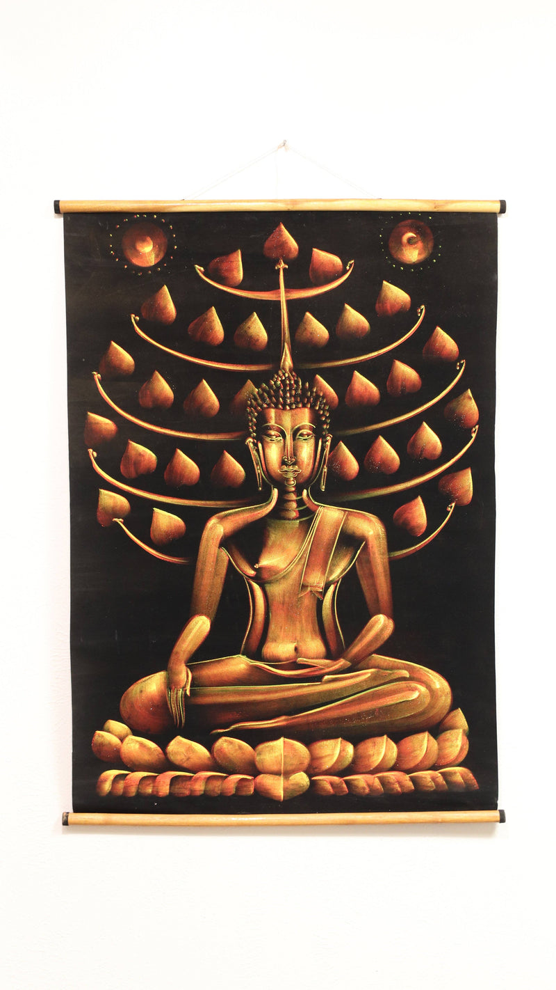 Hand Painted Velvet Scroll - Gold Buddha