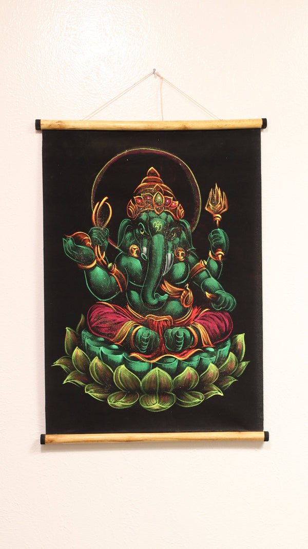Hand Painted Velvet Scroll - Green Ganesh