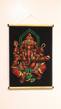 Hand Painted Velvet Scroll - Orange Ganesh