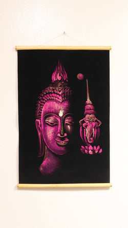 Hand Painted Velvet Scroll - Pink Buddha