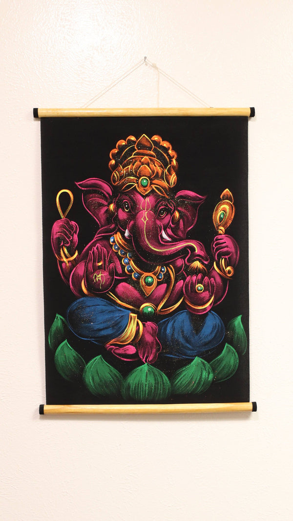 Hand Painted Velvet Scroll - Pink Ganesh