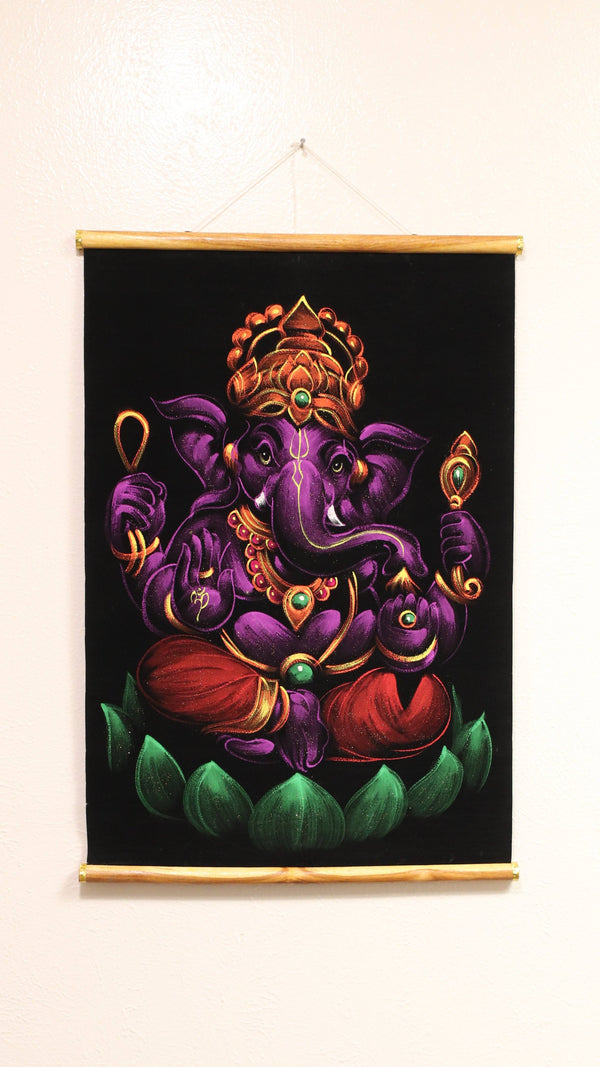 Hand Painted Velvet Scroll - Purple Ganesh
