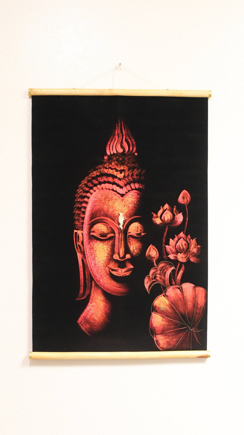 Hand Painted Velvet Scroll - Red Buddha