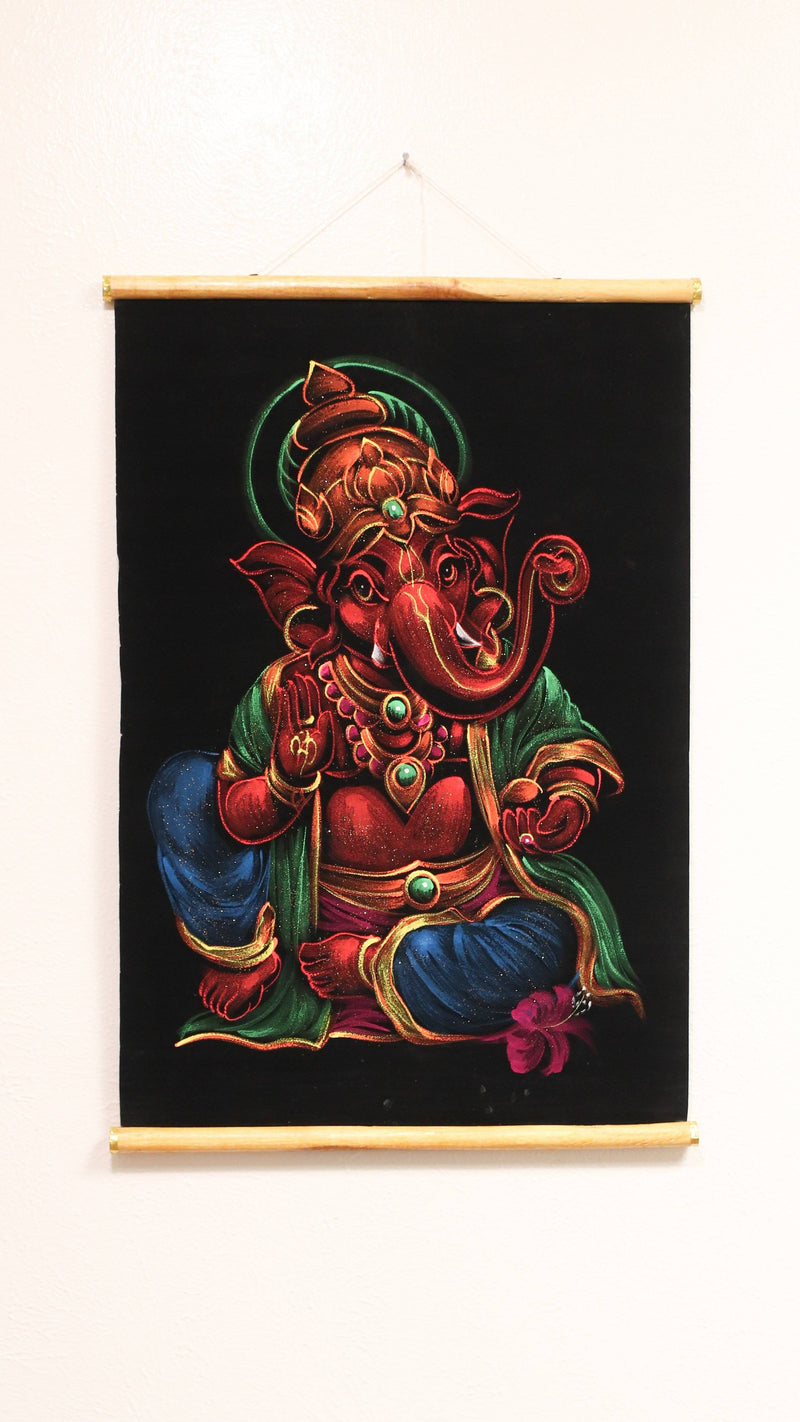 Hand Painted Velvet Scroll - Red Ganesh