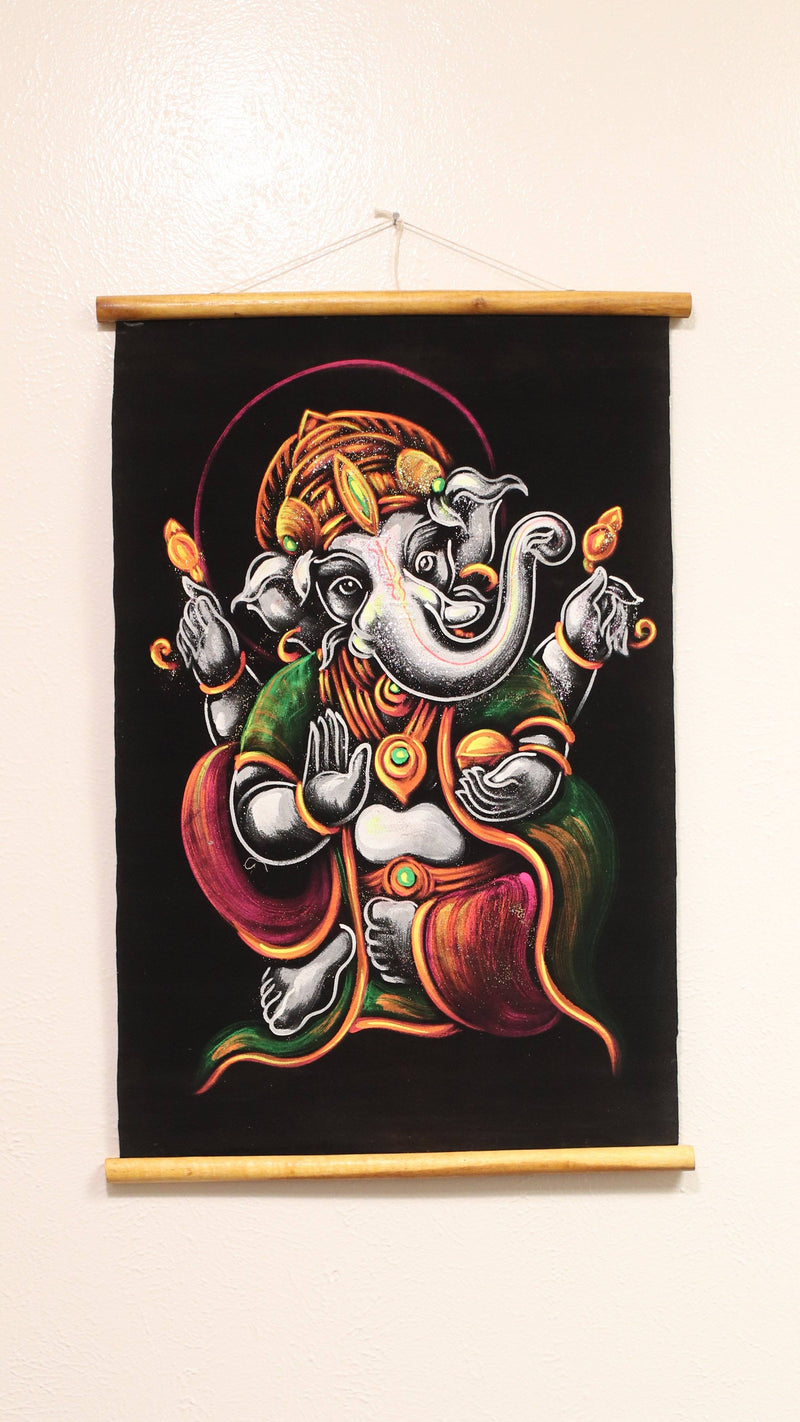 Hand Painted Velvet Scroll - Silver/Grey Ganesh
