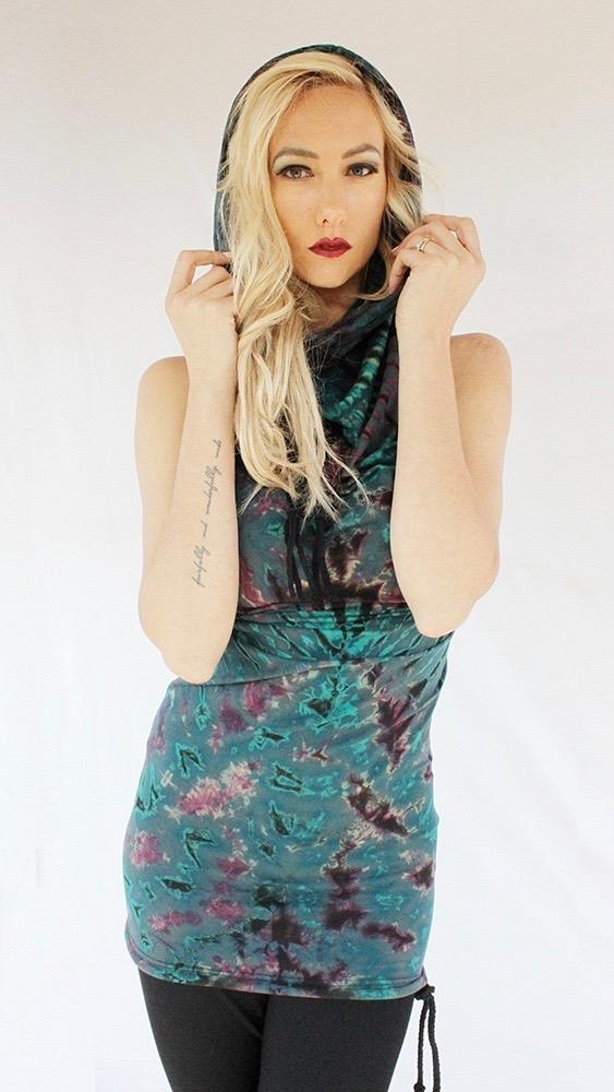 Hooded Halter Dress in Tie Dye