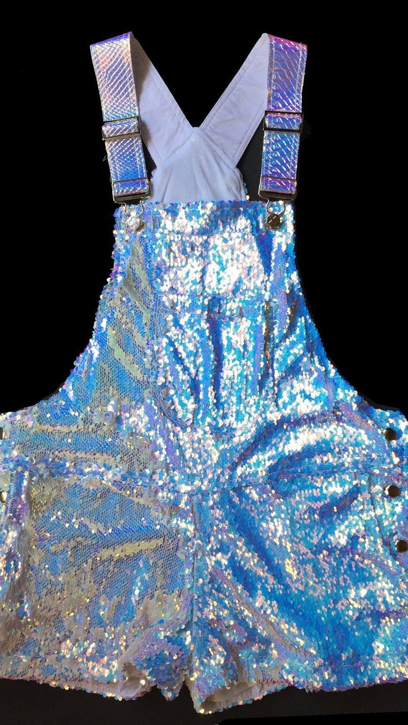 Unicorn Moonbeam Short Sequin Overalls