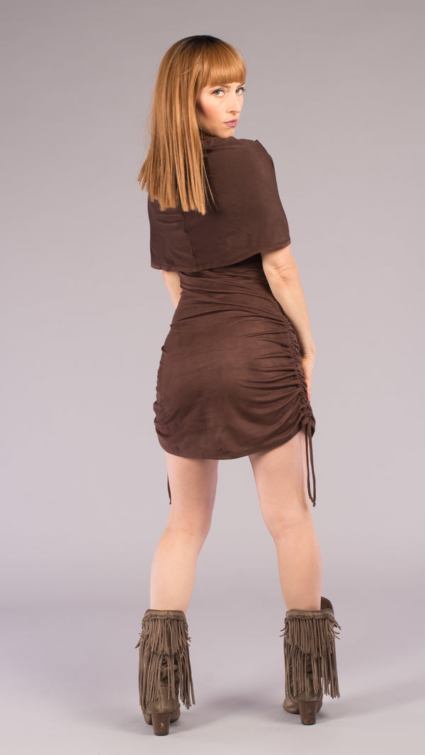 Chocolate Suede Huntress Cinch Dress