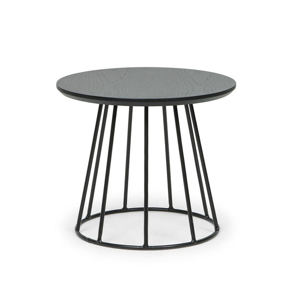 Black Column Tapered Side Table