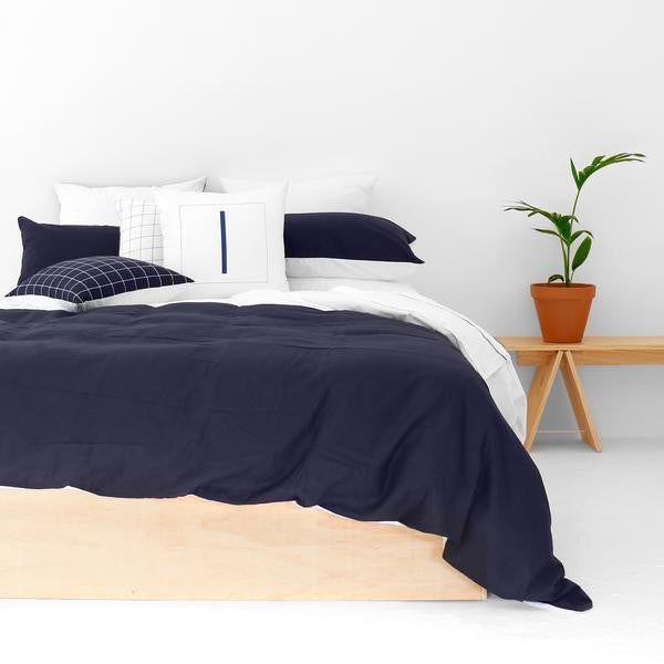 Navy and White Duvet - Clkspace
