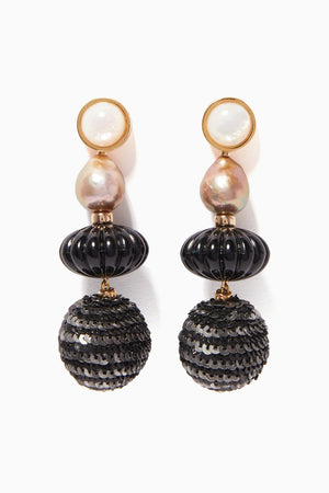 Lizzie Fortunato Masquerade Ball Black Pearl Earrings