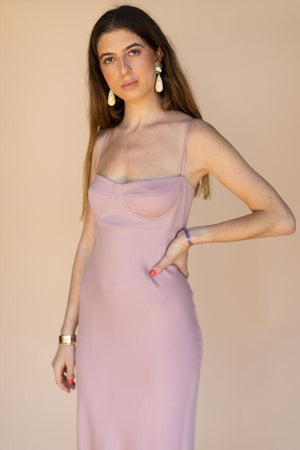 Michelle Mason Bustier Pink Midi Dress