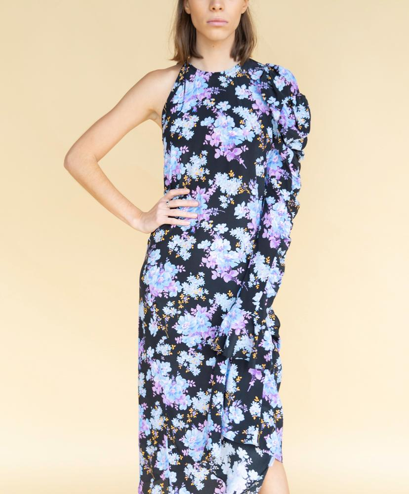 Les Rêveries Asymmetrical Puff Sleeve Floral Dress