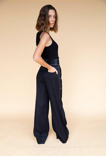 Jonathan Simkhai Structured Twill Black Pant